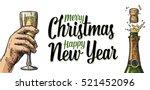 bottle of champagne explosion... | Shutterstock .eps vector #521452096