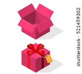pink gift boxes opened and... | Shutterstock .eps vector #521459302