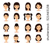 womens hairstyles. beautiful...   Shutterstock .eps vector #521465158
