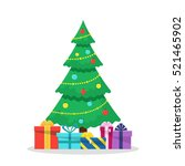 Christmas background with decorated tree and gift boxes. Colorful flat presents for holiday. Modern design. Christmas and New Year elements for decoration. Vector illustration isolated on white.