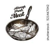 meat  steak in frying pan. hand ...   Shutterstock .eps vector #521467042