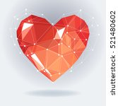 low poly heart with white...   Shutterstock .eps vector #521480602