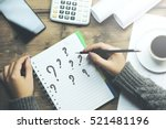 question mark on notebook with... | Shutterstock . vector #521481196