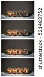 Small photo of Four Advent candles in the snow, collage Advent