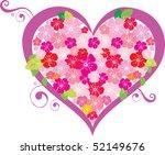 floral heart shape | Shutterstock .eps vector #52149676