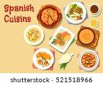 spanish cuisine seafood noodle... | Shutterstock .eps vector #521518966
