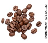 roasted coffee beans isolated... | Shutterstock . vector #521523832