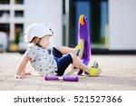 toddler boy in safety helmet ... | Shutterstock . vector #521527366