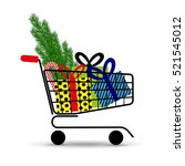supermarket shopping cart full... | Shutterstock .eps vector #521545012
