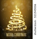 christmas tree. neon lights... | Shutterstock .eps vector #521545036