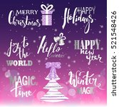 set of merry christmas text ... | Shutterstock .eps vector #521548426