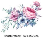 Stock photo watercolor bouquet of flowers hand painted colorful floral composition isolated on white 521552926
