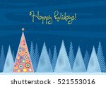 beautiful chrismas tree winter... | Shutterstock .eps vector #521553016