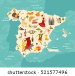 spain map vector. illustrated... | Shutterstock .eps vector #521577496