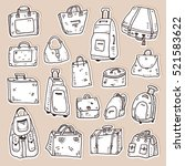 hand drawn white bag sticker set | Shutterstock .eps vector #521583622