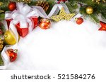 christmas gift with decoration... | Shutterstock . vector #521584276