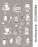 hand drawn coffee sticker... | Shutterstock .eps vector #521585086