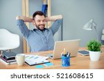 young happy worker having break ... | Shutterstock . vector #521608615
