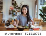 asian woman was having... | Shutterstock . vector #521610736