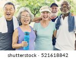senior group friends exercise... | Shutterstock . vector #521618842