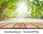 empty wooden table with garden... | Shutterstock . vector #521624956