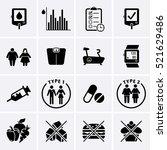 diabetes disease icons set ... | Shutterstock .eps vector #521629486