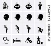 sick icons set. flu or... | Shutterstock .eps vector #521629525