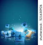 christmas blue gift boxes on... | Shutterstock .eps vector #521630926