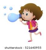 little girl blowing bubbles... | Shutterstock .eps vector #521640955