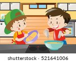 two boys cooking in the kitchen ... | Shutterstock .eps vector #521641006