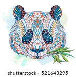 patterned head of panda on the... | Shutterstock .eps vector #521643295