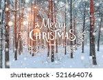 frosty winter landscape in... | Shutterstock . vector #521664076