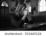 woman sitting church religion... | Shutterstock . vector #521665126