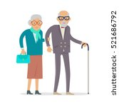 aged people walking isolated on ... | Shutterstock .eps vector #521686792