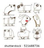 cute dogs  dog illustration set