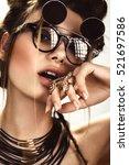beautiful fashion woman with... | Shutterstock . vector #521697586