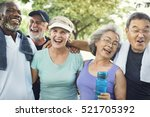 senior group friends exercise... | Shutterstock . vector #521705392
