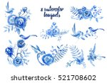 set of 8 watercolor bouquets.... | Shutterstock . vector #521708602
