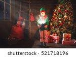 Happy child girl elf helper of...