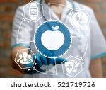 doctor presses apple button on... | Shutterstock . vector #521719726