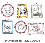 set of cute rabbit avatars... | Shutterstock .eps vector #521720476