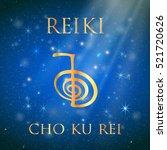 reiki symbol. the word reiki... | Shutterstock .eps vector #521720626