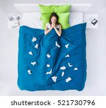 sad ill woman at home in bed at ... | Shutterstock . vector #521730796