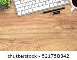 hipster wood office desk table... | Shutterstock . vector #521758342