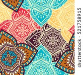 ethnic floral seamless pattern | Shutterstock .eps vector #521758915