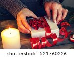 A Woman Wrap Christmas Gifts....