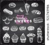 trendy sweets vector set.... | Shutterstock .eps vector #521765986