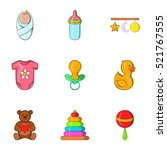 baby icons set. cartoon... | Shutterstock . vector #521767555