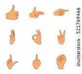 gestural icons set. cartoon... | Shutterstock . vector #521769466
