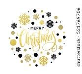 merry christmas gold glittering ... | Shutterstock .eps vector #521769706